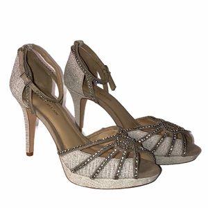 Antonio Melani Silver Jeweled Heels Sandals 9.5